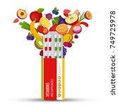 blister pack of pills with... | Shutterstock .eps vector #749725978
