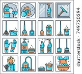 set of cleaning service icons... | Shutterstock .eps vector #749730394