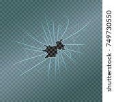 broken glass with realistic... | Shutterstock .eps vector #749730550