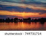 sunset in lindau  bavaria ... | Shutterstock . vector #749731714