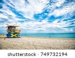 lifeguard tower for rescue... | Shutterstock . vector #749732194