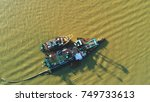 aerial view. floating boats in...   Shutterstock . vector #749733613