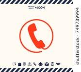 telephone handset surrounded by ... | Shutterstock .eps vector #749739994