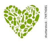 healthy life   heart shape with ...   Shutterstock .eps vector #74974081