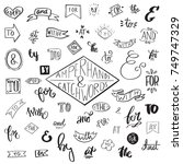 collection of handwritten... | Shutterstock .eps vector #749747329