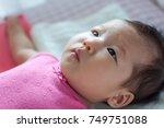 asian 3 months baby girl... | Shutterstock . vector #749751088