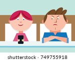 wife ignores angry husband... | Shutterstock .eps vector #749755918