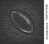football  rugby ball vintage... | Shutterstock .eps vector #749757598