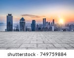 empty floor with modern skyline ... | Shutterstock . vector #749759884