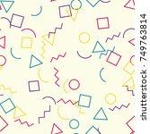 memphis seamless geometric... | Shutterstock .eps vector #749763814