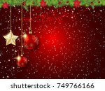 Christmas and New Year red vector background with winter decor