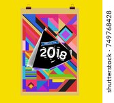 new year 2018 calendar cover... | Shutterstock .eps vector #749768428