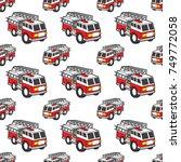 fire engine seamless pattern... | Shutterstock .eps vector #749772058