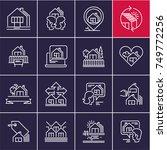 real estate line icons set ... | Shutterstock .eps vector #749772256