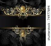 gold framed  with gold spider... | Shutterstock .eps vector #74977894
