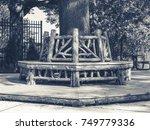 outdoor rotunda bench seating... | Shutterstock . vector #749779336