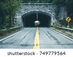 isolated tunnel in mountain.... | Shutterstock . vector #749779564