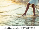 splashing in the sea. close up... | Shutterstock . vector #749780950