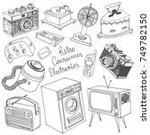 retro consumer electronics...   Shutterstock .eps vector #749782150