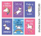 unicorn greeting card set.... | Shutterstock .eps vector #749785180