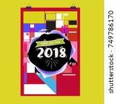 new year 2018 calendar cover... | Shutterstock .eps vector #749786170