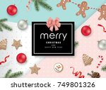 christmas flat lay design with... | Shutterstock .eps vector #749801326