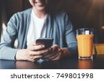 close up of mobile phone in... | Shutterstock . vector #749801998