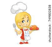 cartoon cute little blond girl... | Shutterstock .eps vector #749802838