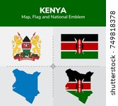 kenya map  flag and national... | Shutterstock .eps vector #749818378