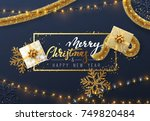 christmas background with... | Shutterstock .eps vector #749820484