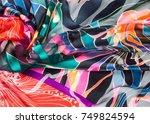 fabric silk texture. abstract... | Shutterstock . vector #749824594