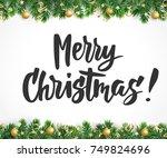 merry christmas text  hand... | Shutterstock .eps vector #749824696