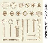 set of industrial fasteners.... | Shutterstock .eps vector #749828980