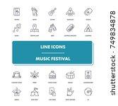 line icons set. music festival...