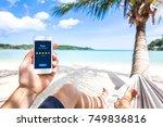 customer review online app on... | Shutterstock . vector #749836816