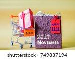 soft focus mini shopping cart...   Shutterstock . vector #749837194