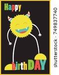 monster party card design.... | Shutterstock .eps vector #749837740