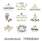 merry christmas and happy new... | Shutterstock .eps vector #749838364