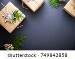 christmas handmade gift boxes... | Shutterstock . vector #749842858