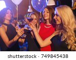 group of gorgeous caucasian... | Shutterstock . vector #749845438