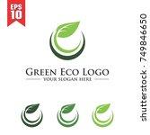 circle green leaf eco logo | Shutterstock .eps vector #749846650