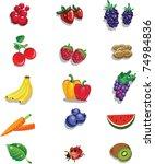 vector set of different fruits... | Shutterstock .eps vector #74984836