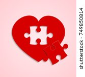 red piece puzzle heart. icon... | Shutterstock .eps vector #749850814