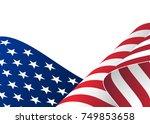 illustration of waving usa flag.... | Shutterstock . vector #749853658