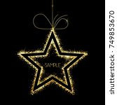 vector gold star on black with... | Shutterstock .eps vector #749853670