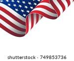 illustration of waving usa flag.... | Shutterstock . vector #749853736