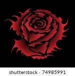 vector rose tattoo style | Shutterstock .eps vector #74985991