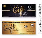 voucher template with gold gift ...