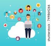 social network and teamwork... | Shutterstock .eps vector #749864266
