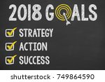 new year 2018 goals check list | Shutterstock . vector #749864590